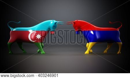 Bulls With Azerbaijan And Armenia Flags Facing Each Other On Dark Background. 3d Illustration.