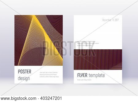 Minimalistic Cover Design Template Set. Gold Abstract Lines On Maroon Background. Ecstatic Cover Des
