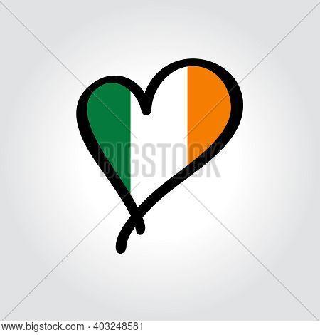 Irish Flag Heart-shaped Hand Drawn Logo. Vector Illustration.