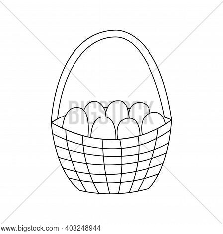 Basket With Easter Eggs. Traditional Food And Symbol For The Orthodox And Catholic Holidays. Happy E