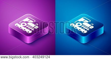 Isometric Vintage Locomotive Icon Isolated On Blue And Purple Background. Steam Locomotive. Square B