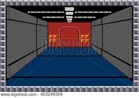 Single Or Dual Player Offline Shooting Game Scene, Vector Illustration