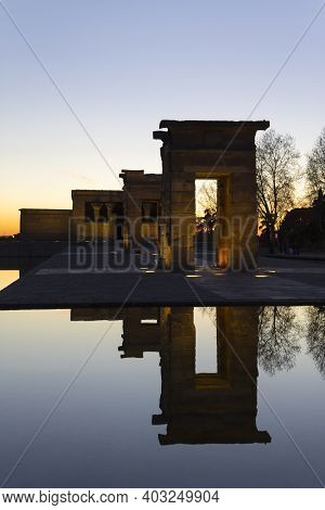 Vertical View Of The Egyptian Temple Of Debod At Sunset. Tourist Monuments In Madrid, Spain. Space F