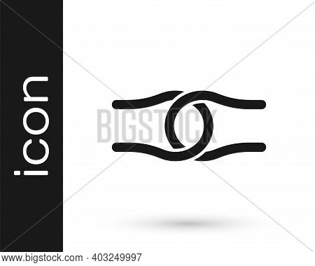 Black Rope Tied In A Knot Icon Isolated On White Background. Vector
