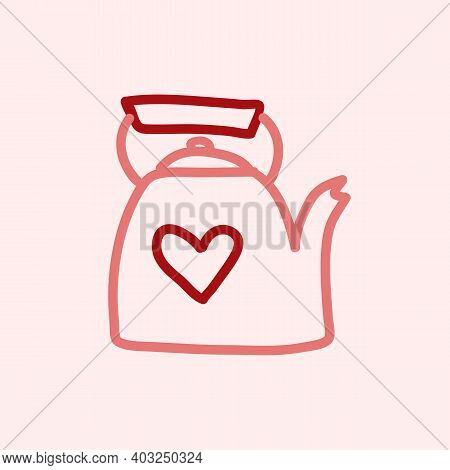 Valentines Day Theme Doodle Vector Icon Of Hand Drawn Teapot With Heart Shape On A Pink Background.
