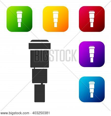 Black Spyglass Telescope Lens Icon Isolated On White Background. Sailor Spyglass. Set Icons In Color