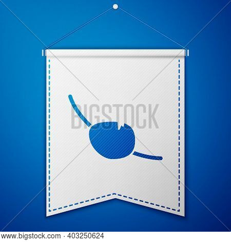 Blue Pirate Eye Patch Icon Isolated On Blue Background. Pirate Accessory. White Pennant Template. Ve