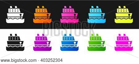 Set Cruise Ship Icon Isolated On Black And White Background. Travel Tourism Nautical Transport. Voya