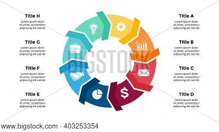 Arrows Vector Infographic. Presentation Slide Template. Circle Diagram. Chart With 8 Options.