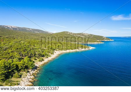 Amazing Seascape On Adriatic Sea, Long Shore Of The Island Of Losinj In Croatia, Aerial View From Dr
