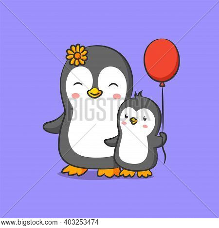 The Penguin With The Sun Flowers On Her Head Walking With Her Baby Penguin