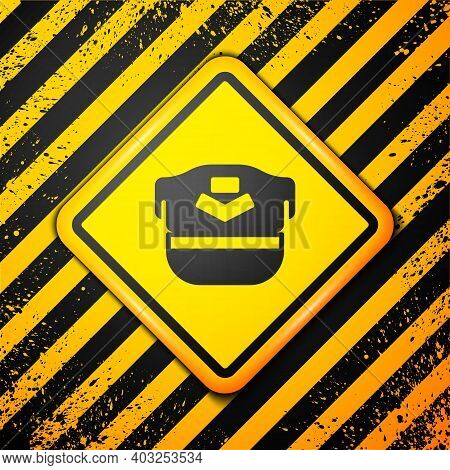 Black Pilot Hat Icon Isolated On Yellow Background. Warning Sign. Vector