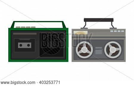 Retro Radio Cassette Recorder Or Receiver As Electronic Device Receiving Radio Waves Vector Set