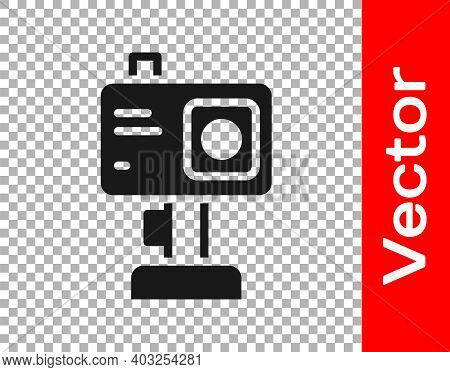 Black Action Extreme Camera Icon Isolated On Transparent Background. Video Camera Equipment For Film