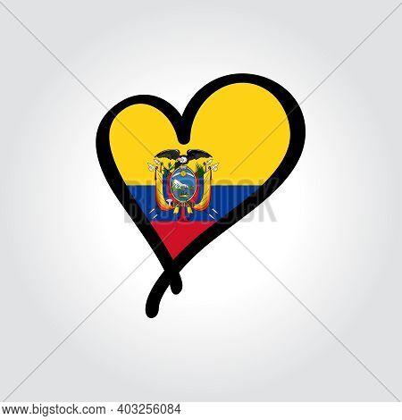 Ecuadorian Flag Heart-shaped Hand Drawn Logo. Vector Illustration.