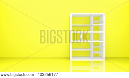 White Bookshelf Isolated On Yellow Solid Wall Background. Monday Work Daily Concept. 3d Rendering. 8