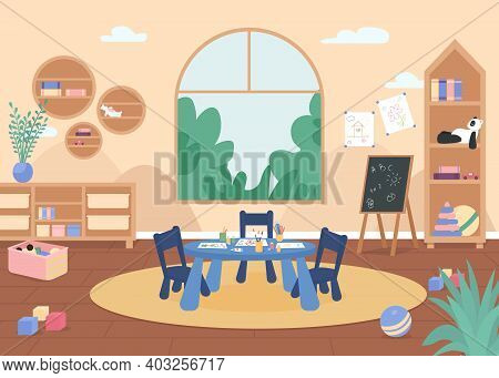 Kindergarten Painting Class Flat Color Vector Illustration. Primary Grade Room With Desk, Chair And
