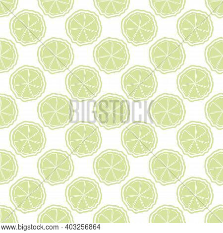Citrus Fruit Vector Seamless Pattern Background. Light Green White Backdrop With Round Slices Of Lim