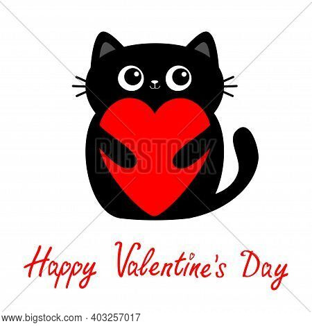 Happy Valentines Day. Cat Kitten Kitty Holding Big Red Heart. Cute Cartoon Kawaii Funny Animal Baby