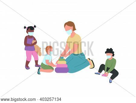 Teacher And Kids In Medical Mask Play Together Flat Color Vector Faceless Characters. Tutor With Chi