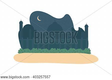 Night Mosque 2d Vector Web Banner, Poster. Arabian Minaret. Saudi Religious Architecture. Indian Fla