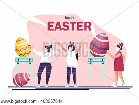 Happy people wearing a mask to prevent coronavirus celebrating Easter and painting Easter eggs. Traditional spring holidays design elements and characters.Happy Easter. Giant Easter eggs and people preparing for a party. Happy easter background, easter de