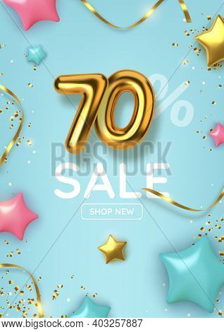70 Off Discount Promotion Sale Made Of Realistic 3d Gold Balloons With Stars, Sepantine And Tinsel.