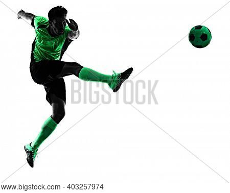 one young caucasian soccer player silhouette shadow in studio isolated on white background