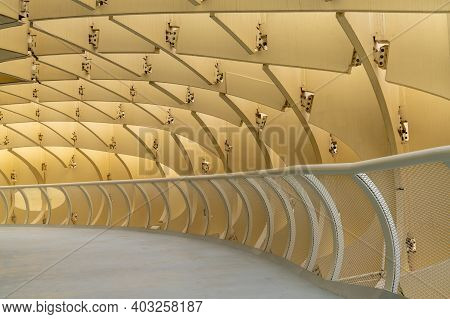 Seville, Spain - 10 January, 2021: Detail View Of The Corridors And Curved Wooden Structure Of The M