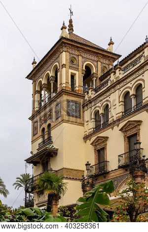 Seville, Spain - 10 January, 2021: View Of The Historic Hotel Alfonso Xiii In Downtown Seville