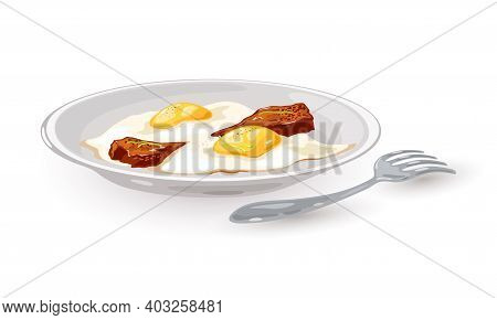 Tasty Dish, Fried Eggs With Yolk And Slice Of Bacon Served On Plate With Fork. Vector Delicious Port
