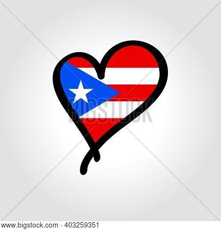 Puerto Rican Flag Heart-shaped Hand Drawn Logo. Vector Illustration.