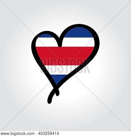 Costa Rican Flag Heart-shaped Hand Drawn Logo. Vector Illustration.
