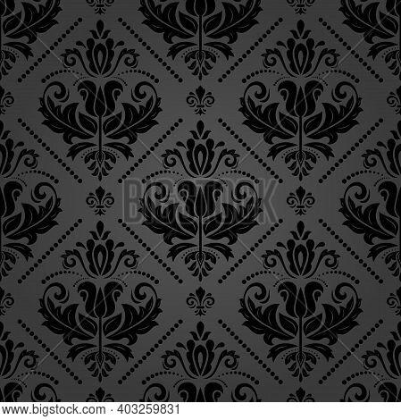 Orient Vector Classic Dark Pattern. Seamless Abstract Background With Vintage Elements. Orient Dark