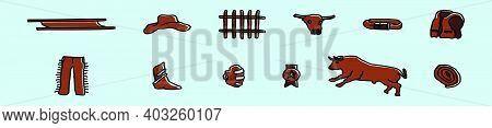 Set Of Bullfighter Cartoon Icon Design Template With Various Models. Modern Vector Illustration Isol