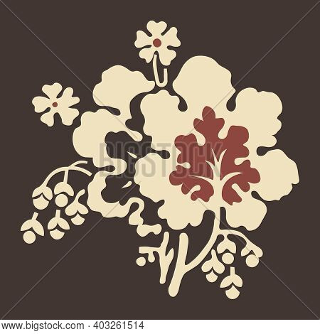 Element For Floral Pattern (leaves, Flower, Brach) In The Eclectic Style Of The Late 19th Century