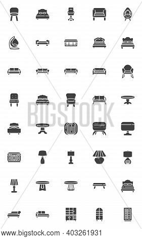 Modern Furniture Vector Icons Set, Modern Solid Symbol Collection, Filled Style Pictogram Pack. Sign