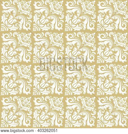Orient Vector Classic Pattern. Seamless Abstract Yellow And White Background With Vintage Elements.