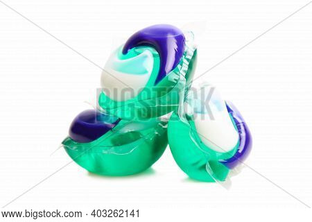 Soluble Gel Capsule For Washing Isolated On White Background. Substitute For Washing Powder.