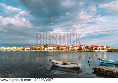 Beautiful View Of Nin Town With Moored Boats, Dalmatia, Croatia.