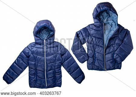 Winter Jacket Isolated. Two Different Views Of A Stylish Cosy Warm Blue Down Jacket For Kids Isolate
