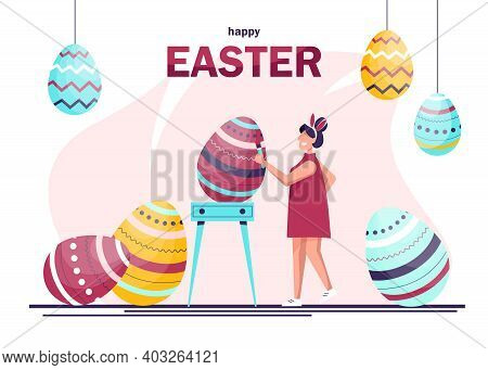 Happy woman celebrating Easter and painting Easter eggs. Traditional spring holidays design elements and characters.Happy Easter. Giant Easter eggs and people preparing for a party.Happy easter background, easter design. Happy Easter, easter bunny, easter