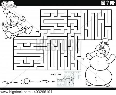 Black And White Cartoon Illustration Of Educational Maze Puzzle Game For Children With Boy And Snowm