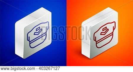 Isometric Line Pilot Hat Icon Isolated On Blue And Orange Background. Silver Square Button. Vector