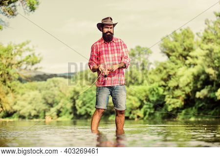 Some Kind Meditation. Fish Normally Caught In Wild. Trout Farm. Man Bearded Fisherman. Fisherman Fis