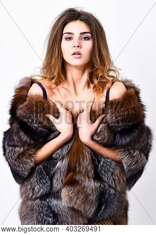 Elite Clothes For Adult. Fashion Trend. Girl Temptress Wear Stockings And Fur Coat. Woman Posing Lin