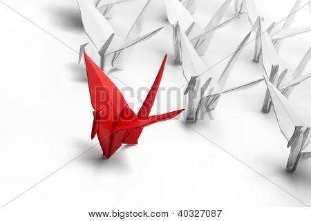 Origami,paper crane on white background.