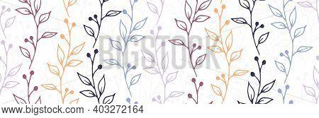 Berry Bush Branches Hand Drawn Vector Seamless Ornament. Boho Floral Textile Print. Grass Plants Fol