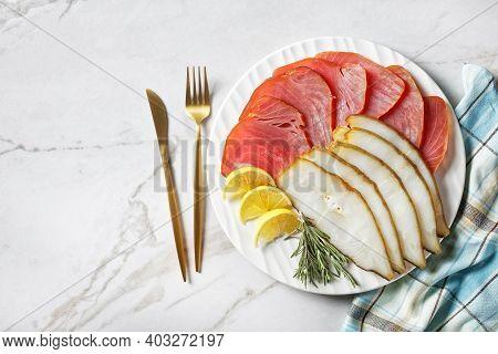 Cold Smoked Halibut And Cold-smoked Tuna Slices