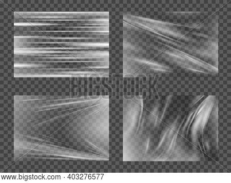 Transparent Glossy Polyethylene Plastic Warp Set. Set Of Texture A-4 Transparent Stretch Film Polyet